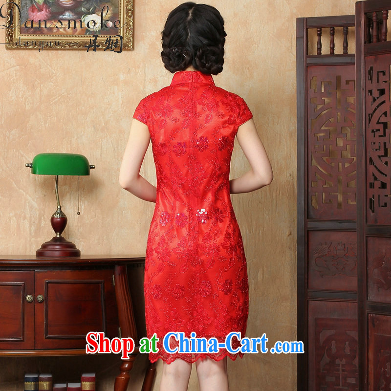 Bin Laden smoke bride toast wedding dress dresses summer female Chinese antique flower embroidery short improved cheongsam-Noble red 2 XL, Bin Laden smoke, shopping on the Internet