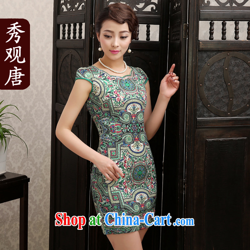 The CYD HO Kwun Tong used spring 2015 new, summer cheongsam dress beauty aura short temperament improved daily cheongsam dress QD 1284 fancy M