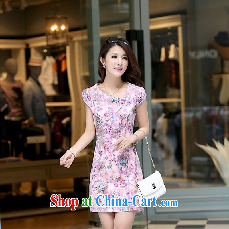 Spring and Summer retro floral large flower stamp improved short cheongsam beauty graphics thin Ms. loaded XC dress 1464 purple C XL