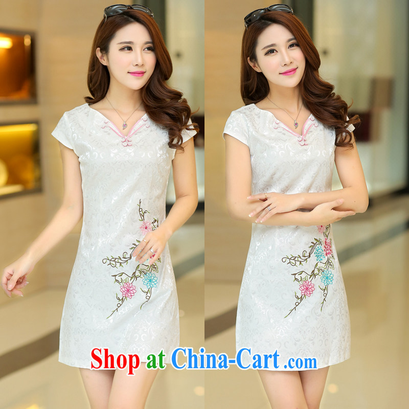 2015 spring and summer new cheongsam dress stylish and refined antique cheongsam dress, short-day style dresses female Tang replace XC 1507 white XL