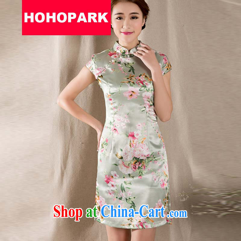 Summer 2015 new tray snap stamp arts and cultural Ethnic Wind improved antique cheongsam dress China wind female Z 1215 fancy XXL