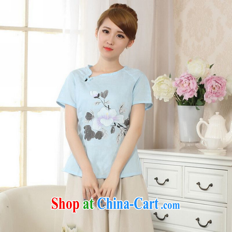 And Jing Ge female Tang Women's clothes summer T-shirt is a tight hand-painted cotton the Chinese Han-female improved picture color XL