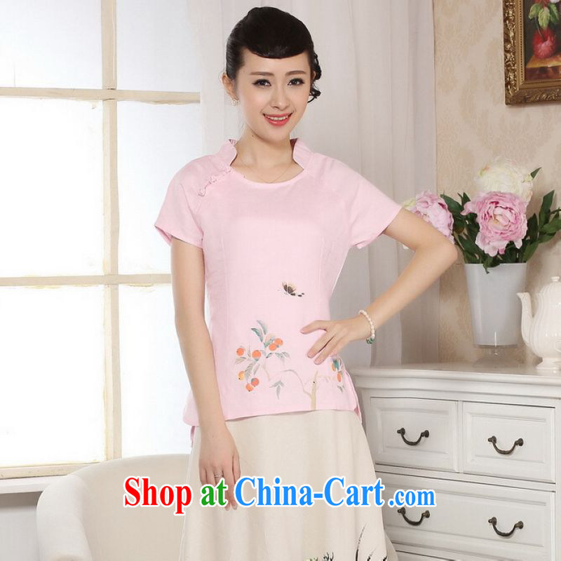 He Jing Ge female Tang Women's clothes summer T-shirt, for a tight hand-painted cotton the Chinese Han-female improved pink M