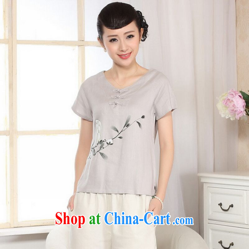 And Jing Ge female Tang Women's clothes summer T-shirt, for a tight hand-painted cotton the Chinese Han-female improved A 0072 - A light gray L