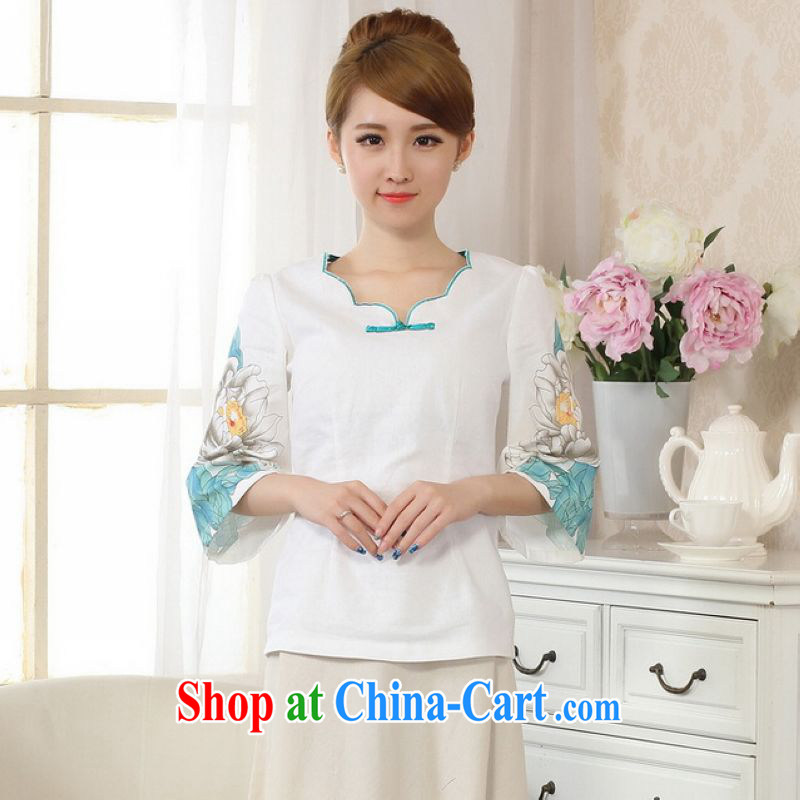 He Jing Ge female Tang Women's clothes summer clothes acted for a tight hand-painted cotton the Chinese Han-female improved white M
