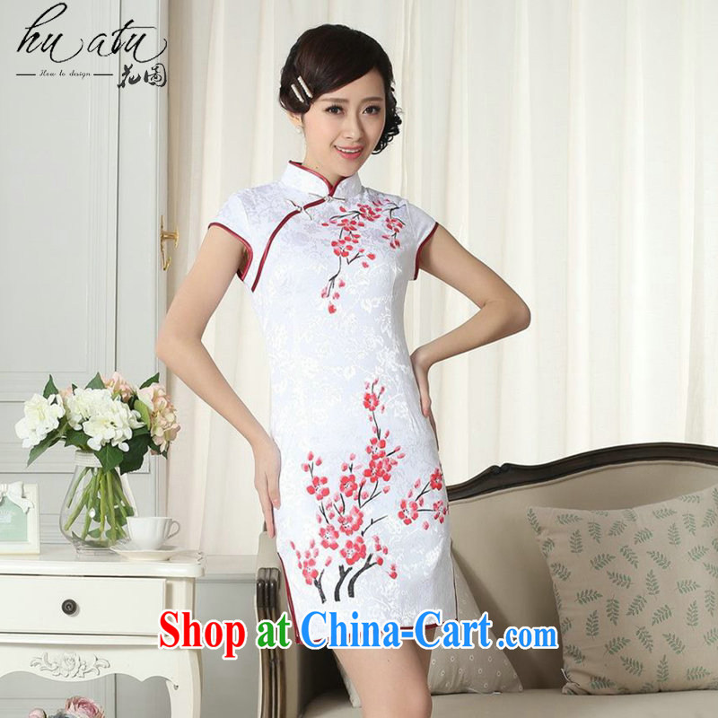 spend the summer new elegance Chinese qipao Chinese graphics thin the ends, for hand-painted Xiangyun/Phillips short cheongsam D 0092 2 XL