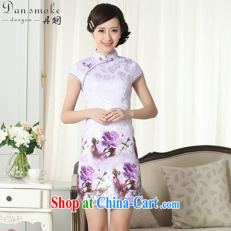 Dan smoke summer new female jacquard cotton daily Chinese qipao cultivating graphics thin, for the stamp duty ends short cheongsam D 0262 2 XL