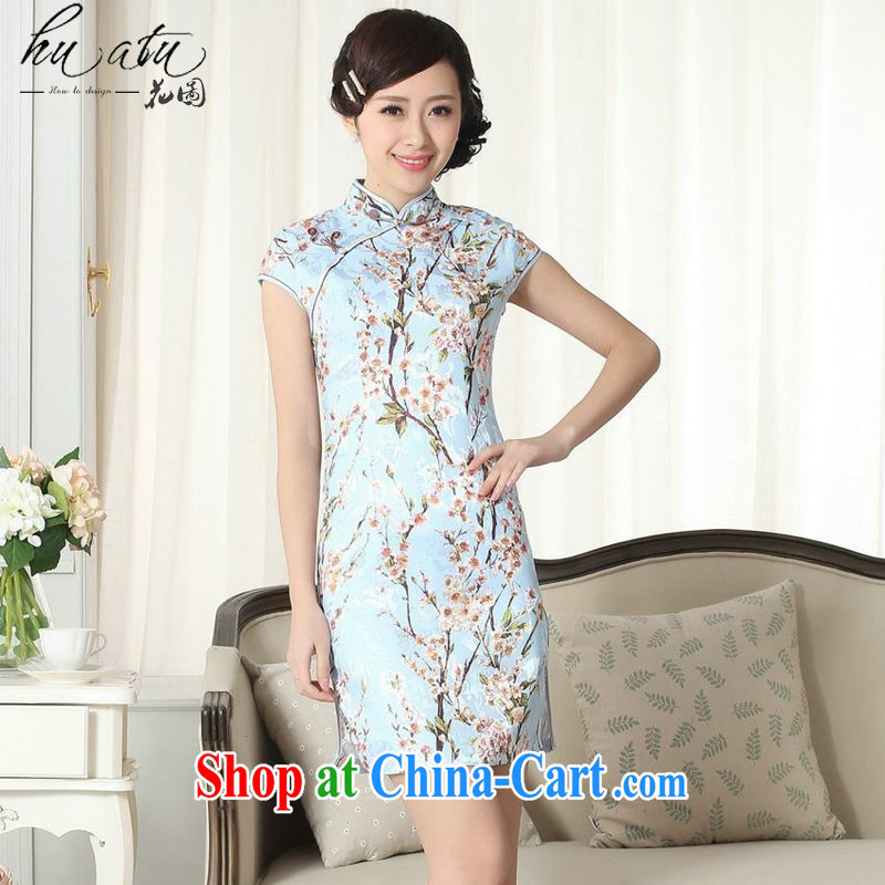 spend the summer with new female jacquard cotton daily Chinese qipao cultivating graphics thin, for a tight stamp short cheongsam D 0263 2 XL