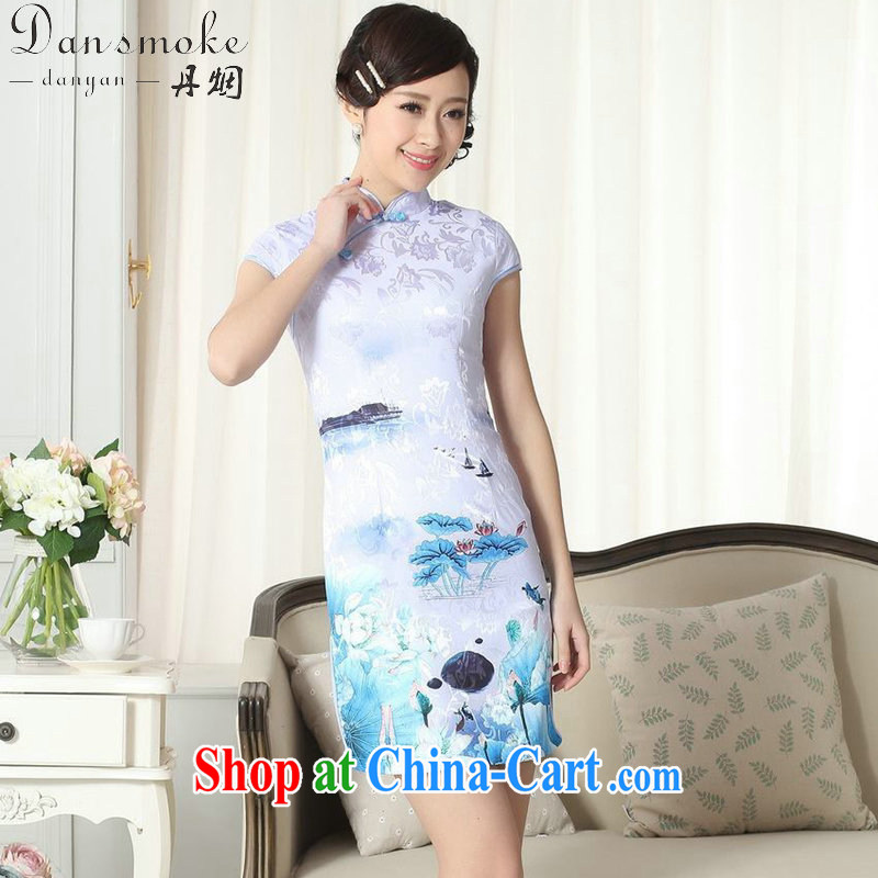 Bin Laden smoke summer new female elegance jacquard cotton Chinese qipao,Chinese graphics thin, for a tight short cheongsam D 0260 2 XL