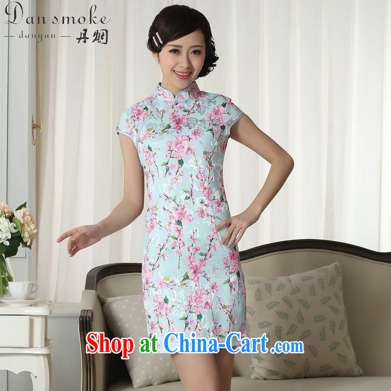 Dan smoke summer new dress jacquard cotton cultivating short cheongsam dress Chinese, for a tight stamp graphics thin cheongsam dress D - 0257 2 XL