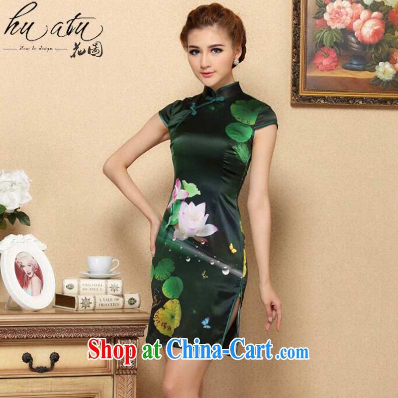 spend the summer dresses new female Chinese green sauna I should be grateful if you Silk Cheongsam high-end cool and stylish Silk Cheongsam dress picture color 2 XL