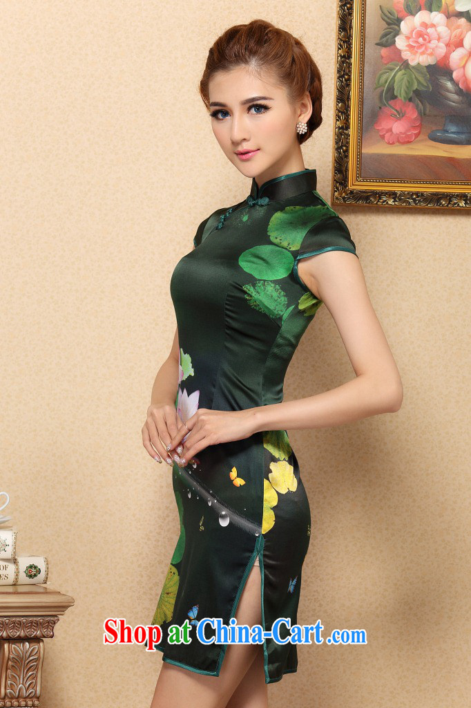 Dan smoke summer dresses new female Chinese green sauna I should be grateful if you Silk Cheongsam high-end cool and stylish Silk Cheongsam dress figure-color 2 XL pictures, price, brand platters! Elections are good character, the national distribution, so why buy now enjoy more preferential! Health