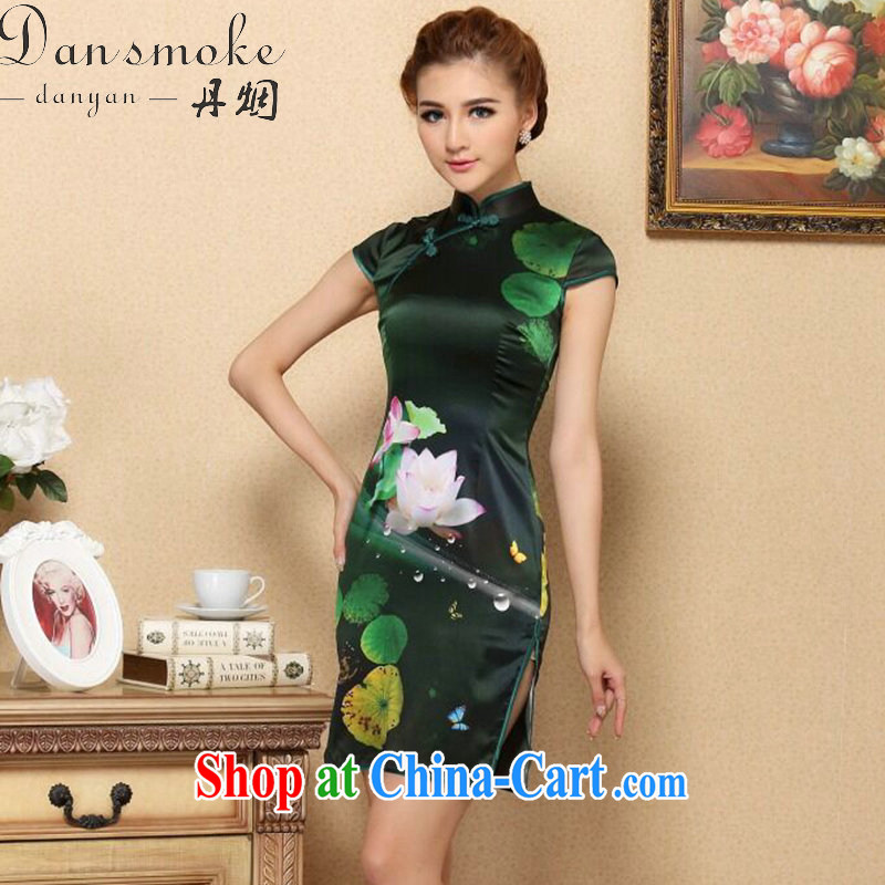 Dan smoke summer dresses new female Chinese I should be grateful if you green sauna Silk Cheongsam high-end cool and stylish Silk Cheongsam dress figure-color 2 XL
