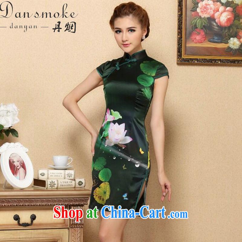 Dan smoke summer dresses new female Chinese I should be grateful if you green sauna Silk Cheongsam high-end cool and stylish Silk Cheongsam dress figure-color 2 XL
