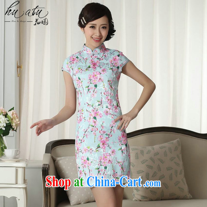 spend the summer new female lady stylish jacquard cotton cultivating graphics thin short cheongsam dress Chinese, for a tight cheongsam dress D 0257 2 XL
