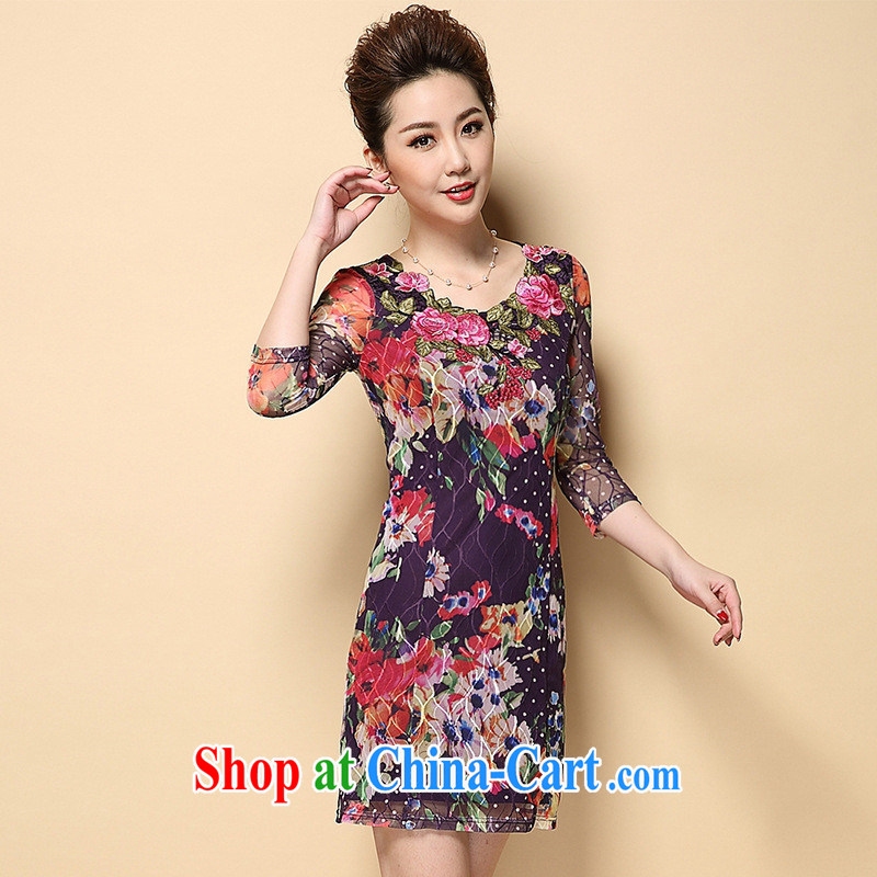 Europe and North America 2015 spring and summer New in the elderly, female Lace Embroidery burglary, wholesale dresses picture color XXXL