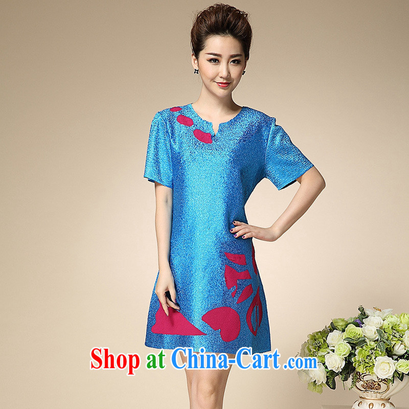 2015 summer silk stamp sauna silk dress silk short-sleeved large code beauty with her mother dresses wholesale blue are code