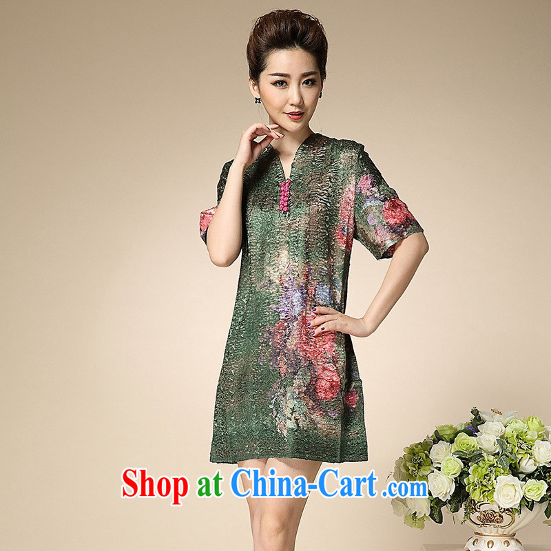 Summer 2015 new European Big sauna silk upscale elegant large code mom with older dresses green XXXL