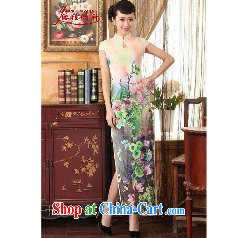 According to the situation in New Chinese qipao retro improved water droplets short-sleeved cultivating long cheongsam dress - A green 2 XL