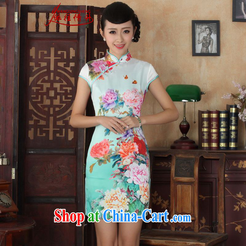 According to the situation in new summer elegance Chinese qipao antique Chinese short-sleeved cultivating short cheongsam dress in figure 2 XL