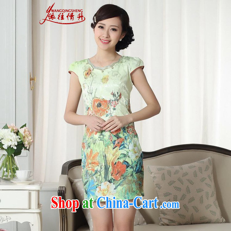 In accordance with the conditions and raise new improved Chinese qipao lady stylish cotton jacquard short sleeve cultivating short cheongsam dress in figure 2 XL