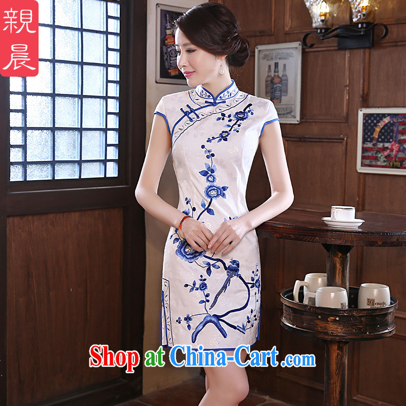 pro-am New 2015 daily cultivating short retro improved stylish graphics thin the forklift truck girl cheongsam dress white XL - 10 day shipping