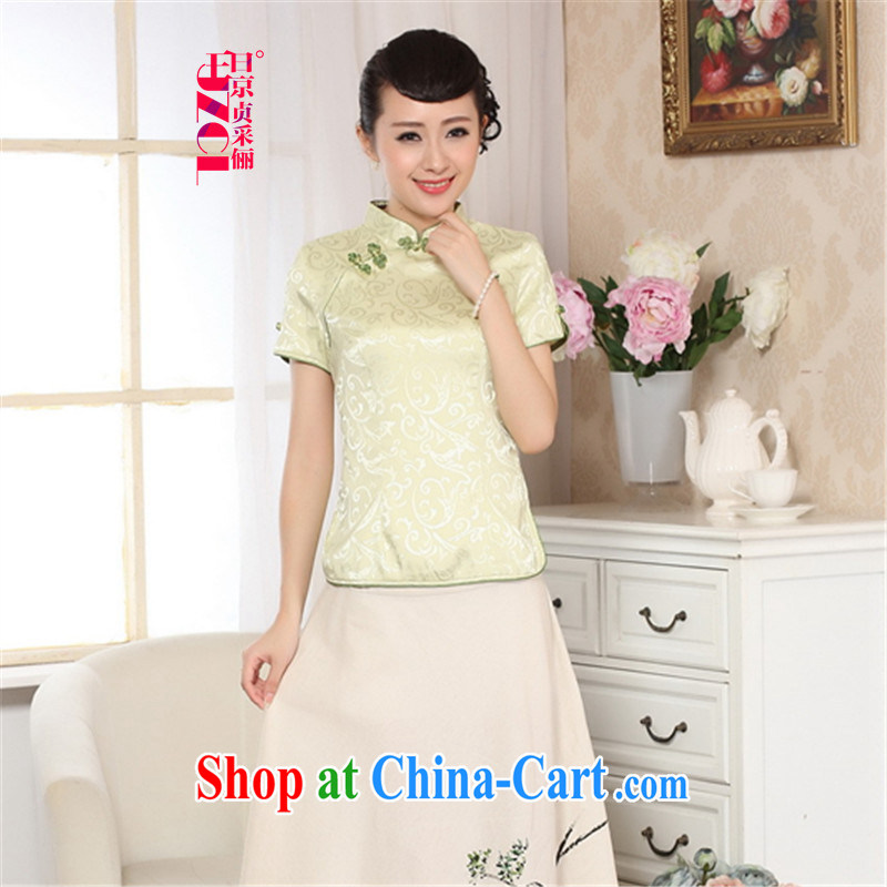 Miss Au King Jung-led new summer, female retro elegant damask-tie short-sleeved qipao Chinese T-shirt T pension A 0025 - A 2 XL