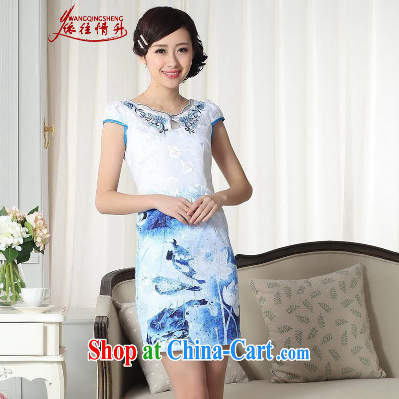 According to summer in New elegance improved Chinese qipao rounded ends cultivating short short dresses such as figure 2 XL