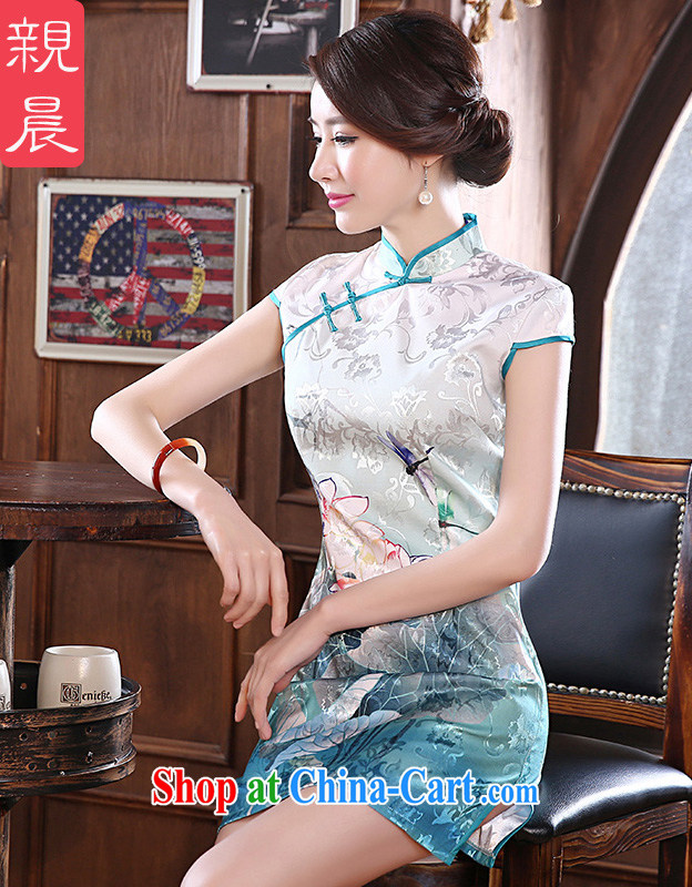 pro-am, new 2015 daily cultivating short improved Stylish retro beauty the forklift truck girl cheongsam dress white M