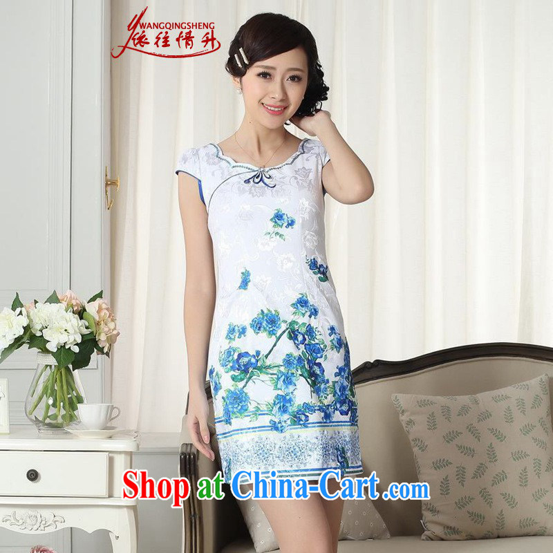 According to the situation in New improved Chinese cheongsam dress lady stylish jacquard cotton short-sleeved cultivating short cheongsam dress as figure 2 XL