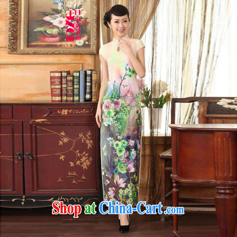 Miss Au King Jung-led summer new female Noble and elegant stamp long cheongsam girls improved the Lao People's short-sleeved dresses cheongsam uniforms C 0008 - A 2 XL