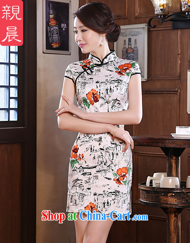 pro-am 2015 spring Daily Beauty retro improved Stylish Girl short, short-sleeved the forklift truck cheongsam dress suit 2 XL