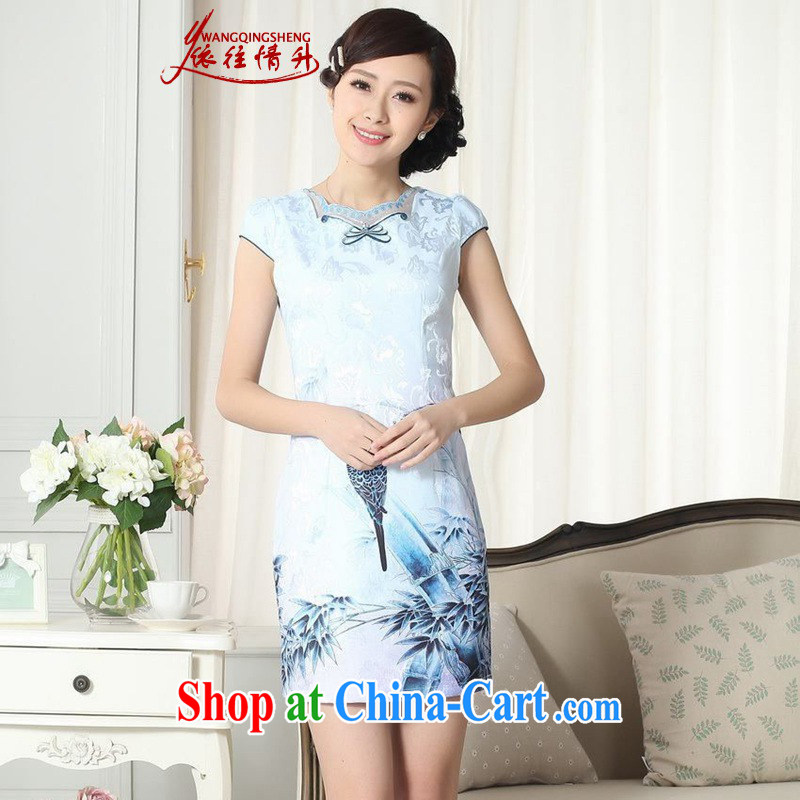 According to summer in new, improved Chinese qipao gown lady stylish jacquard cotton short-sleeved cultivating cheongsam dress shown in Figure 2 XL