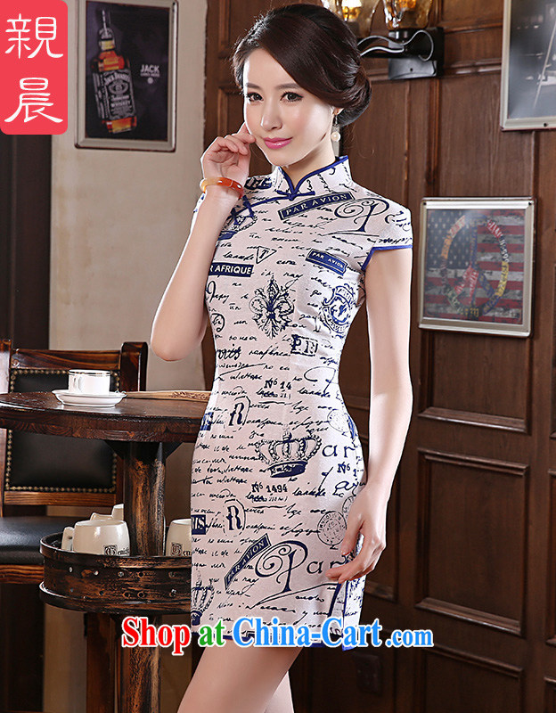 pro-am 2015 new daily and short, short-sleeved improved Stylish retro beauty high quality cotton the cheongsam dress blue 2 XL