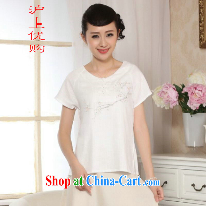 Shanghai optimization options female Tang Women's clothes summer clothes, for a tight hand-painted cotton the Chinese Han-female improved A 0072 white 2XL