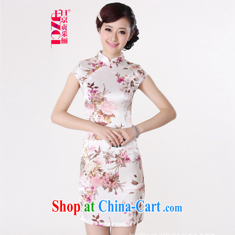 Miss Au King Jung-led summer new female short-sleeved dresses and elegant antique the maize, long, short-sleeved qipao dresses female J 5134 2 XL