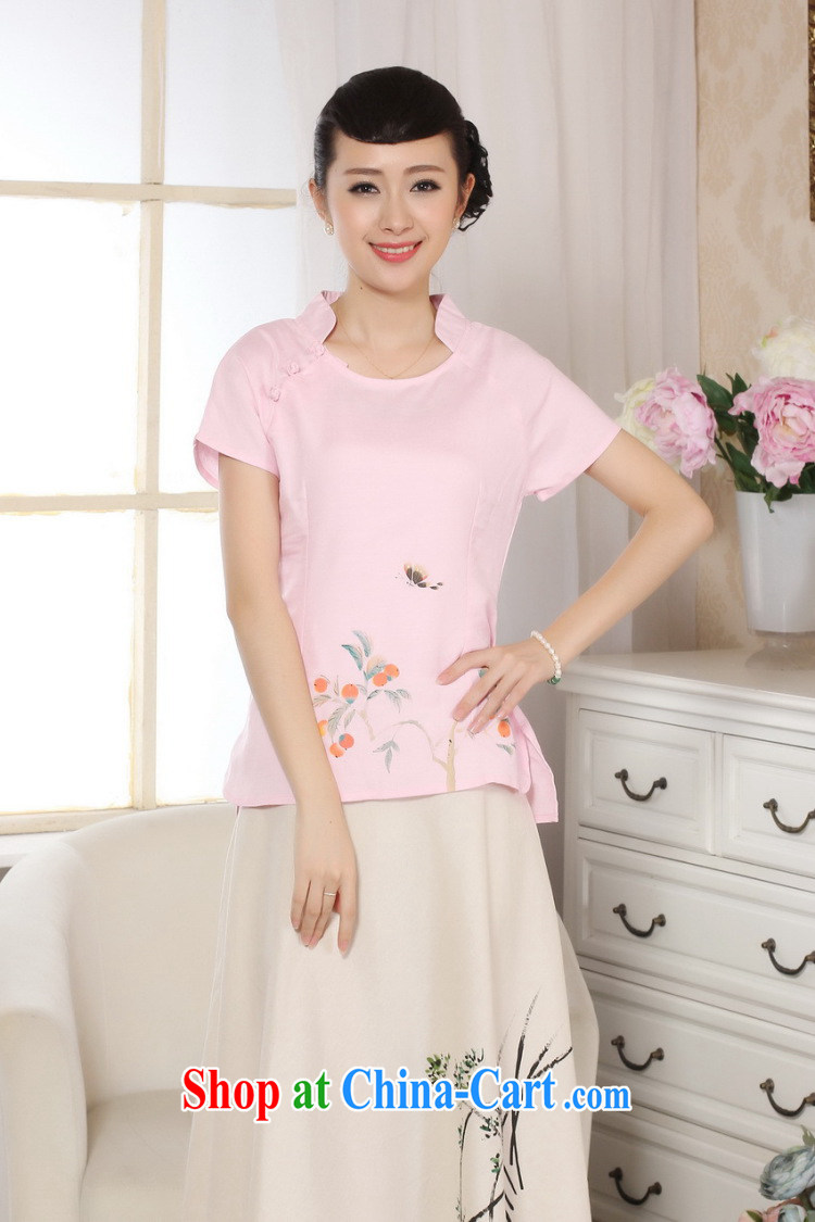 Shanghai, optimize purchase female Tang Women's clothes summer T-shirt, for a tight hand-painted cotton the Chinese Han-female improved pink 2 XL pictures, price, brand platters! Elections are good character, the national distribution, so why buy now enjoy more preferential! Health