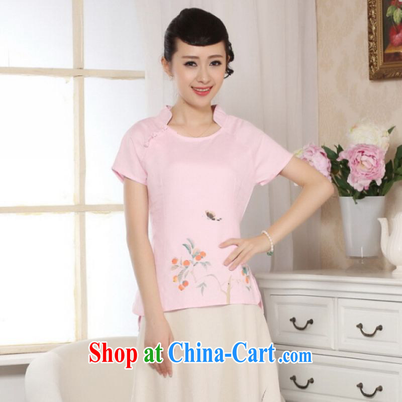 On Shanghai and optimize purchase female Tang Women's clothes summer T-shirt, for a tight hand-painted cotton the Chinese Han-female improved pink 2 XL