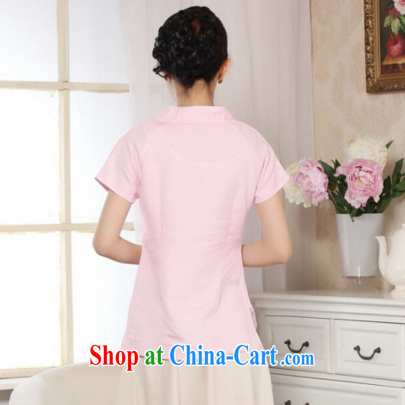 Shanghai, optimize purchase female Tang Women's clothes summer wear T-shirt, for a tight hand-painted cotton the Chinese Han-female improved pink 2 XL, Shanghai, optimize, and shopping on the Internet