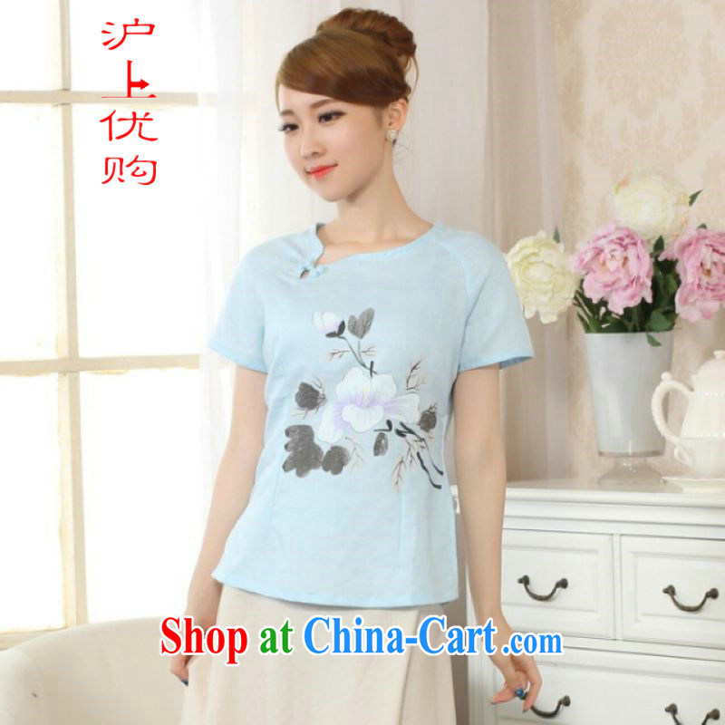 On Shanghai and optimize purchase female Tang Women's clothes summer T-shirt is a tight hand-painted cotton the Chinese Han-female improved light blue 2 XL