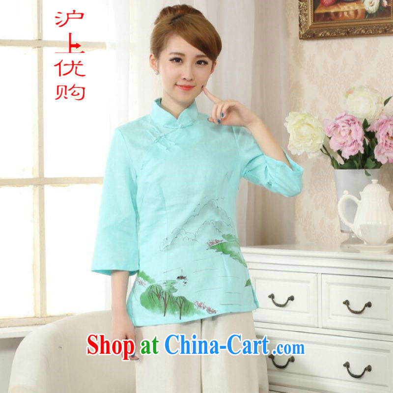 On Shanghai and optimize purchase female Tang Women's clothes summer T-shirt, for a tight hand-painted cotton the Chinese Han-female improved green 2 XL