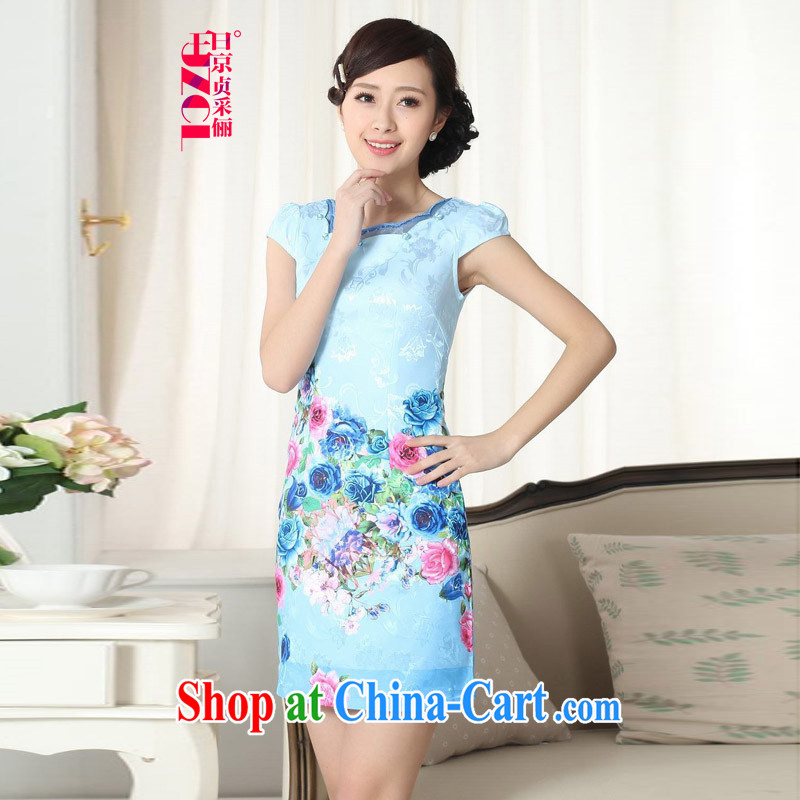 Miss Au King Jung-led summer new female short-sleeved dresses and elegant antique stamp short sleeve girls in long package and dresses qipao D 0300 2 XL