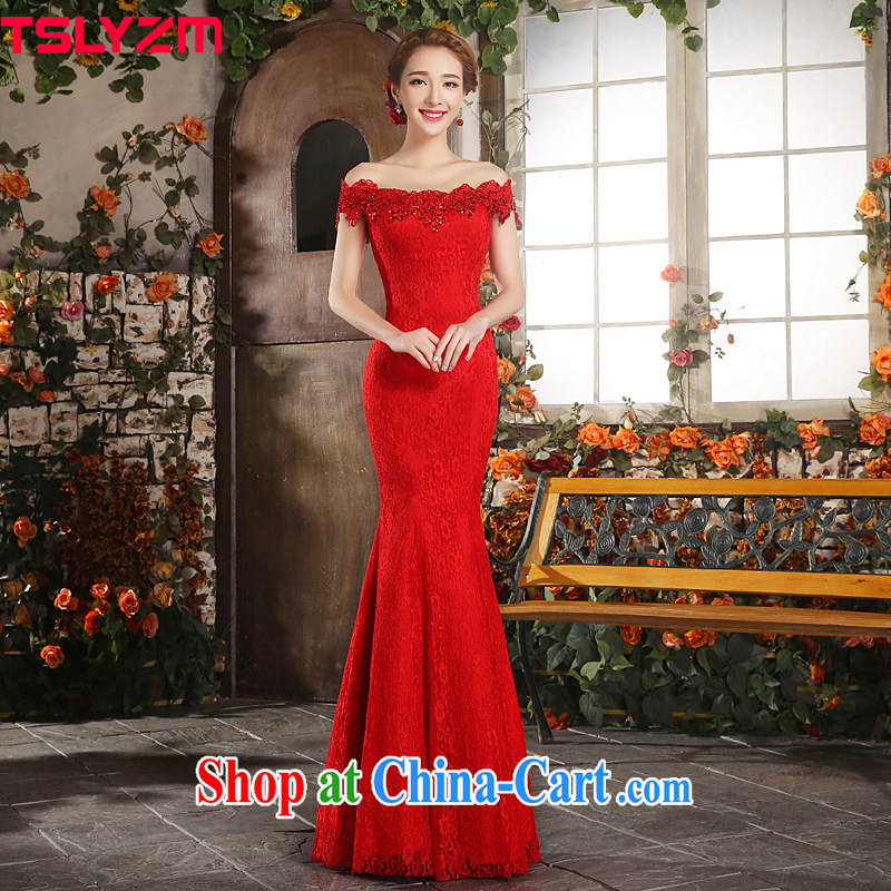 Tslyzm bridal toast at Merlion serving the Field shoulder wedding dresses dress improved summer long 2015 Chinese wedding dress lace beauty red Ms. M