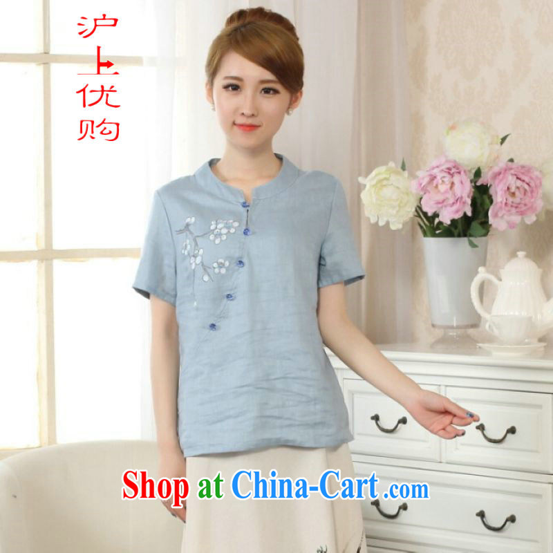 Shanghai optimization options female Tang Women's clothes summer T-shirt with a tight hand-painted cotton the Chinese Han-female improved light blue 2 XL