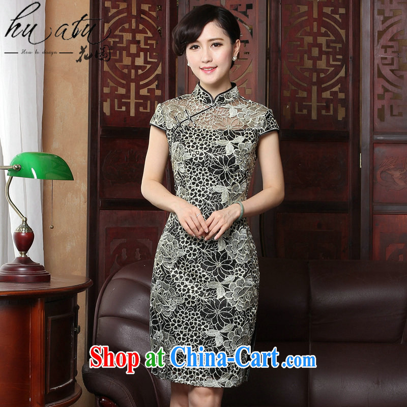 Take the sexy lace cheongsam summer retro female Chinese improved fashion, leading embroidery cheongsam dress in figure 3XL