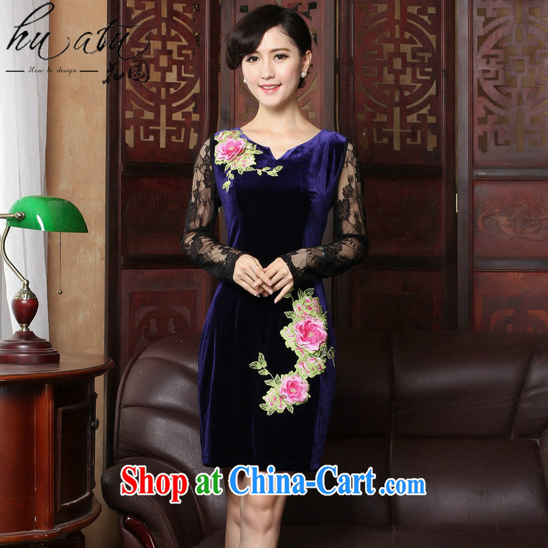 Take the spring and summer new improved cheongsam stylish velour cheongsam dress V for Chinese traditional embroidery lace cheongsam high female figure color 2 XL