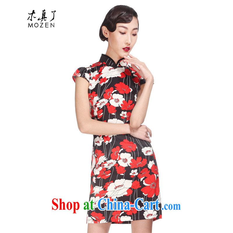 Wood is really the 2015 new Chinese Chinese Antique improved cheongsam ethnic wind beauty dresses fashion dresses 01 42,958 black 32,428 saffron XXXL
