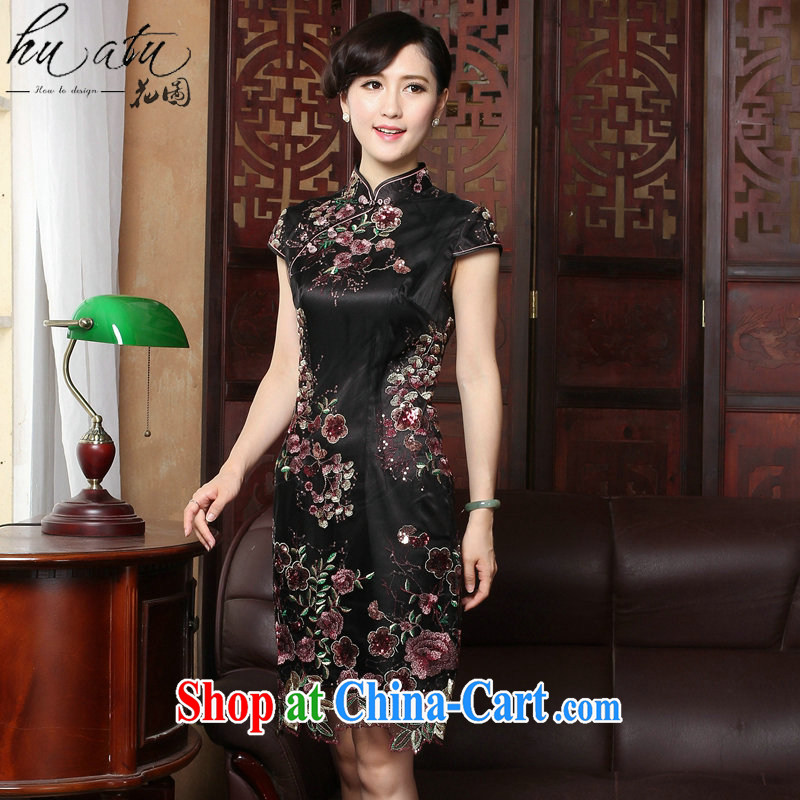 spend the summer with new dresses Tang Women's clothes Silk Cheongsam dress pleated skirts dress Chinese improved national wind lace cheongsam as shown color L