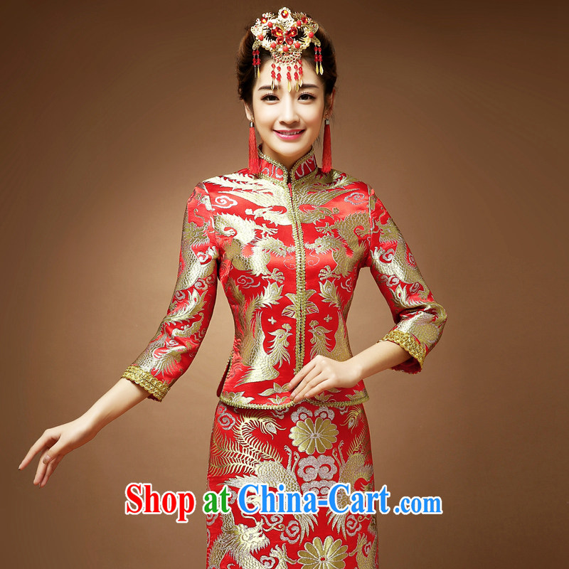 Service was good in spring 2015 new marriage-su Wo Service Bridal Chinese Dress cheongsam toast serving Phoenix use of dress red 2 XL