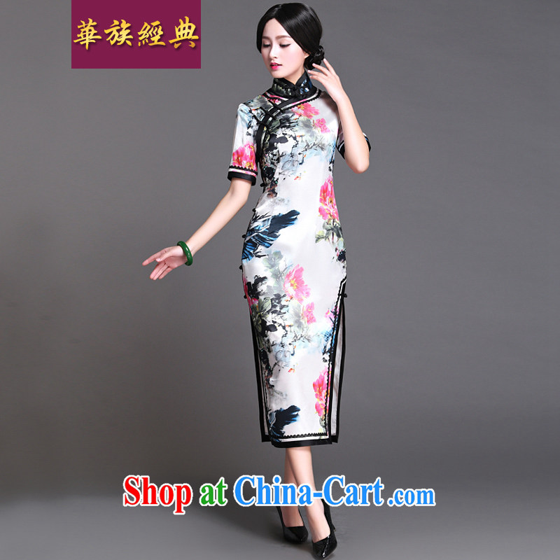 China classic 2015 new summer day, qipao dresses retro improved long, elegant arts, privacy, L
